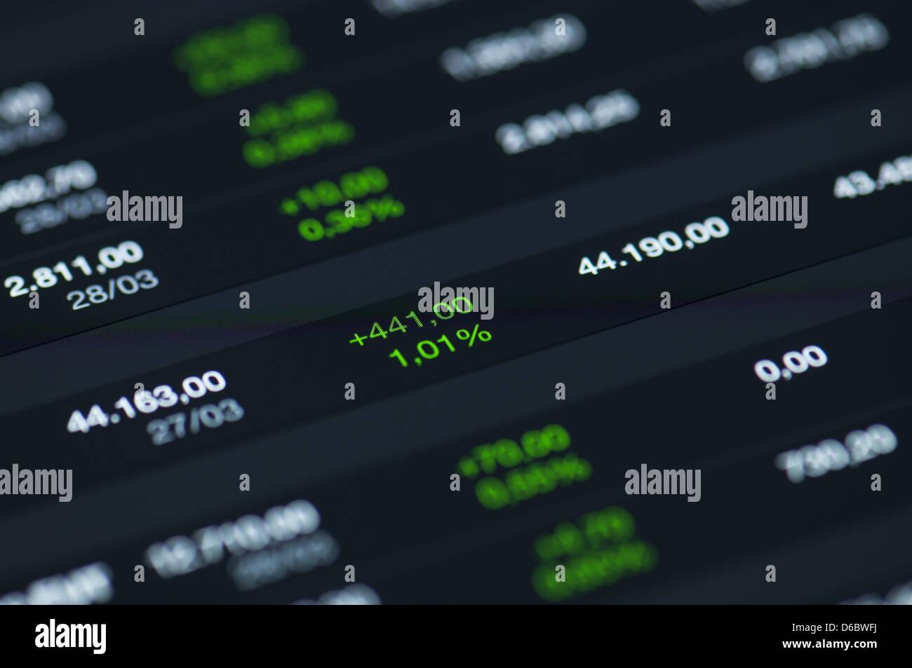 Close-up d'un marché boursier graphique sur un écran LCD haute résolution. Photo Stock