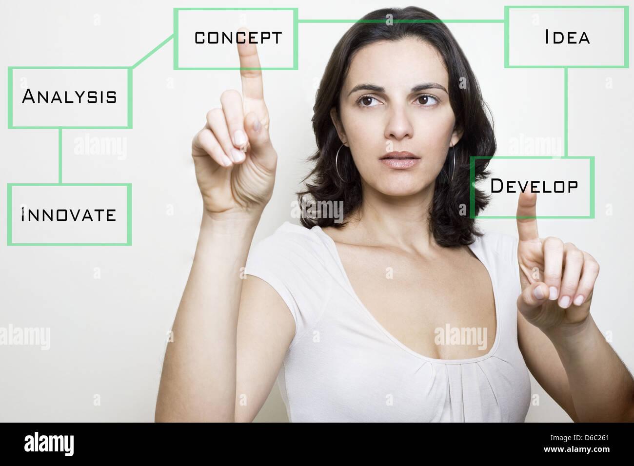 Développement,femme,idée,organisation,randonnée,visualisation,virtuel Photo Stock