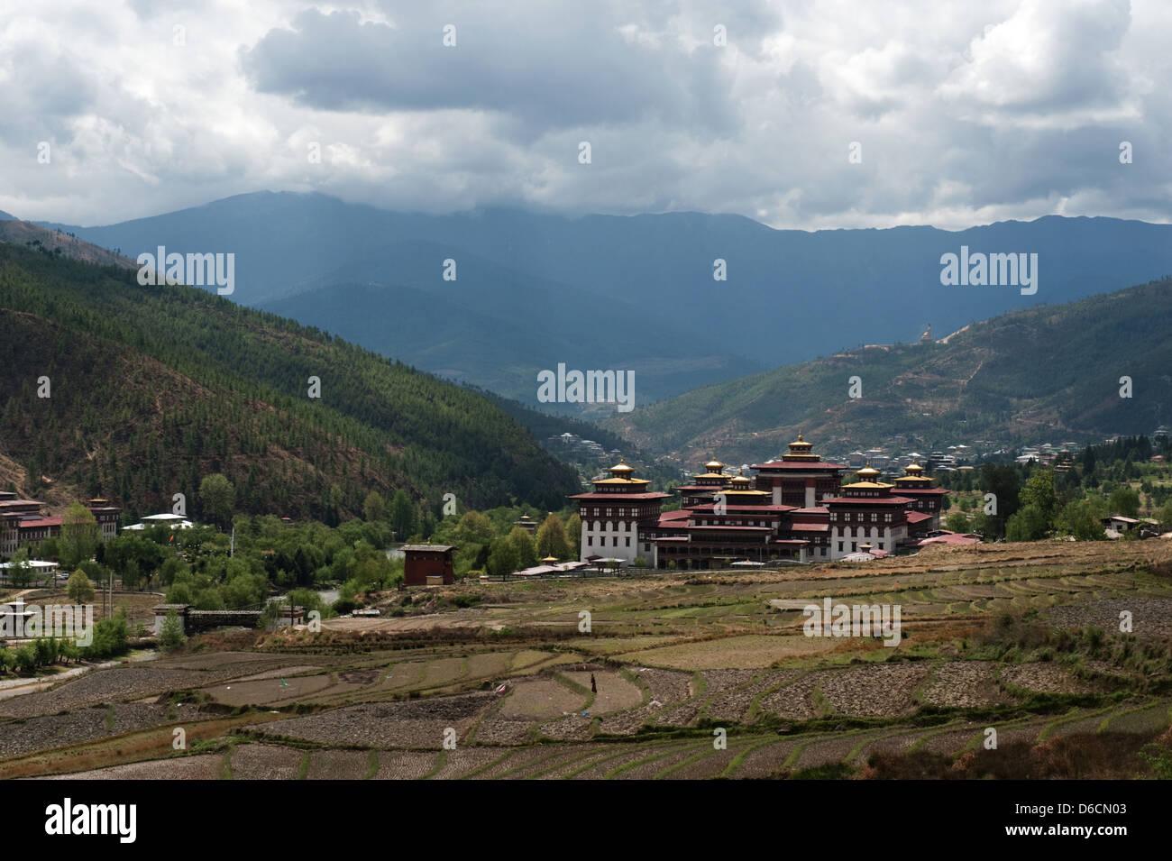 Thimphu, Bhoutan, le complexe du temple Tashi Chödzong Photo Stock
