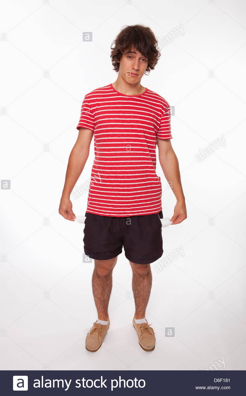 Adolescent pauvres poches vides failli déprimé Photo Stock