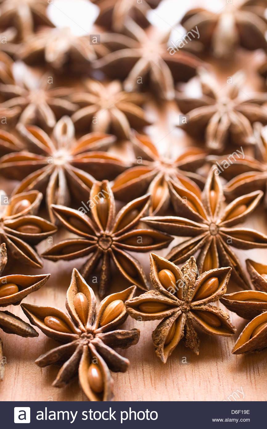 Étoiles à la cannelle anis Anis épices close up Photo Stock