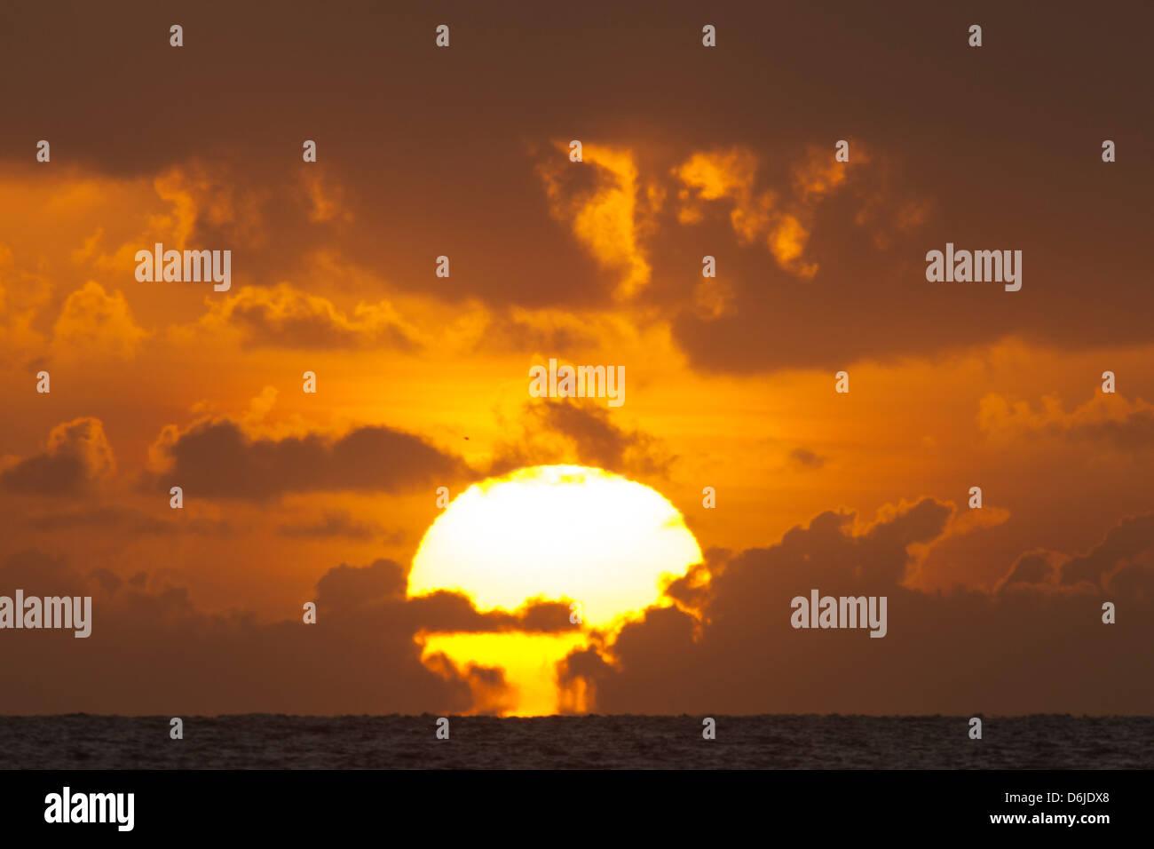 Lever de soleil sur la mer, Palm Cove, Cairns, Queensland du Nord, Australie, Pacifique Photo Stock