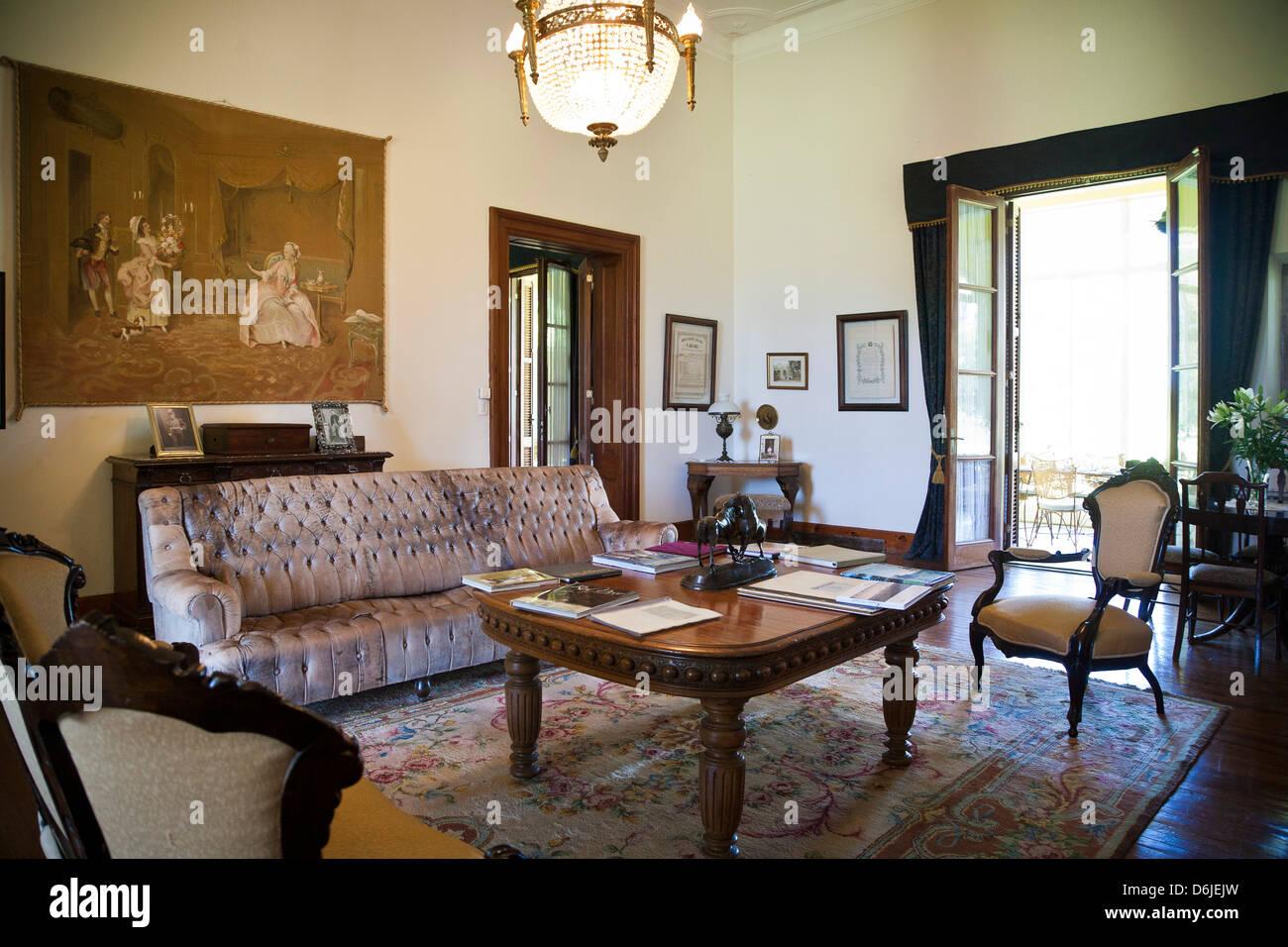 Salle de séjour à l'Estancia La Paz, Province de Cordoba, Argentine, Amérique du Sud Photo Stock