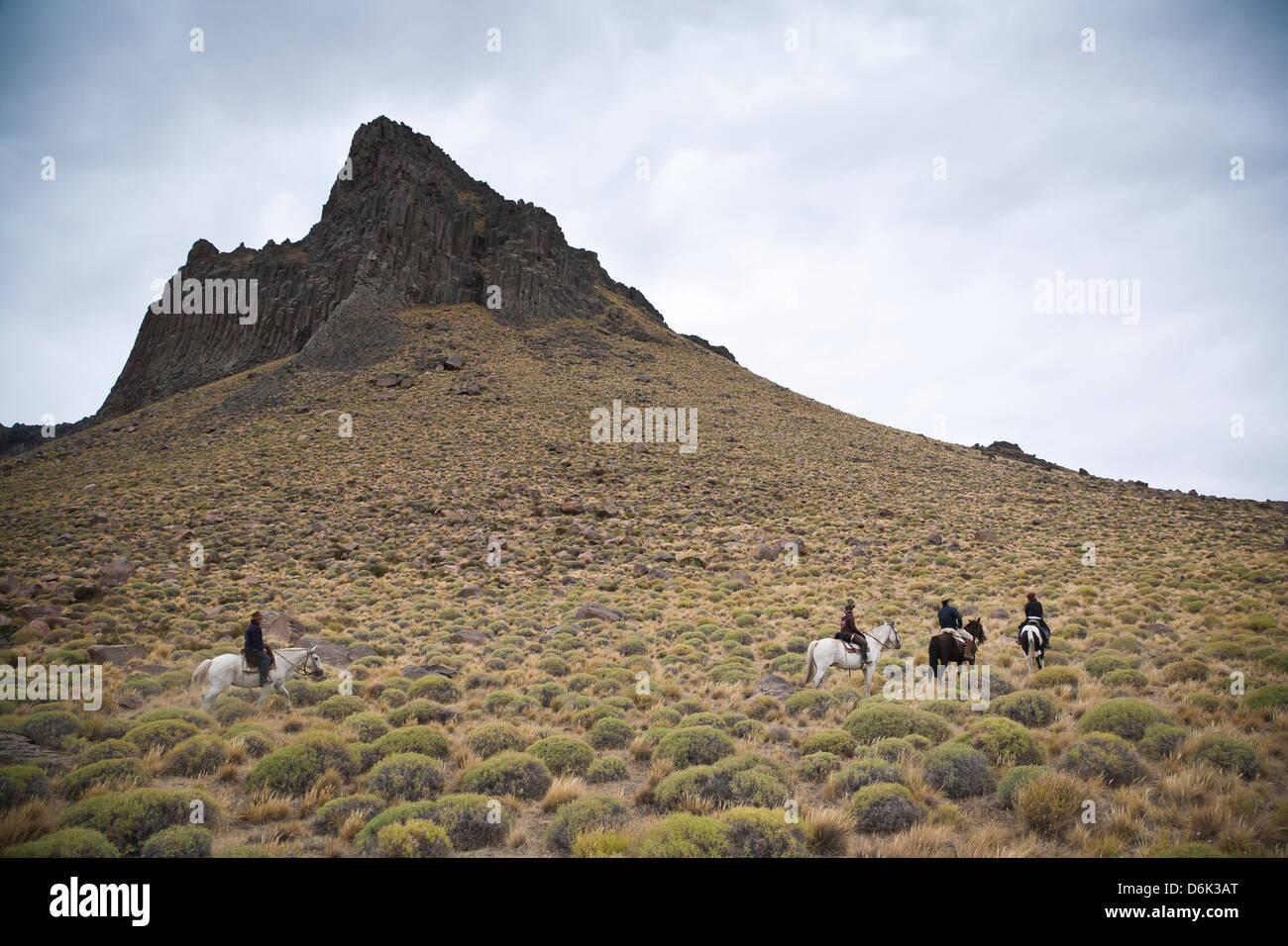 L'équitation, Patagonie, Argentine, Amérique du Sud Photo Stock