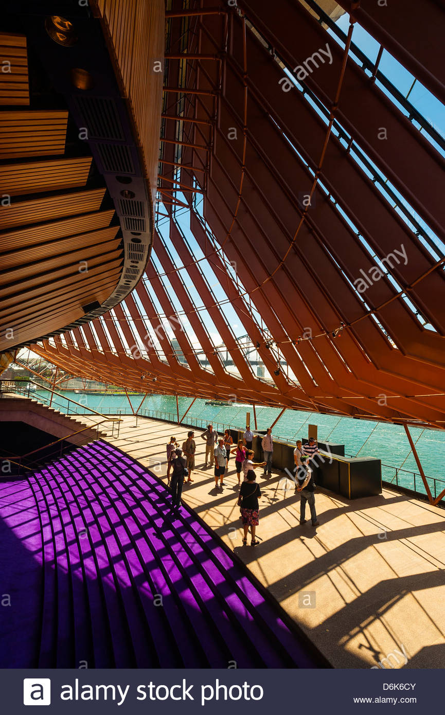 Vue de l'intérieur, de l'Opéra de Sydney, Bennelong Point, Sydney, New South Wales, Australia Photo Stock