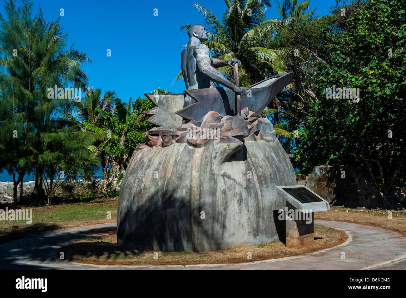 Statue en bronze d'un chef Chamorro, Guam, territoire américain, le centre du Pacifique, Pacifique Photo Stock