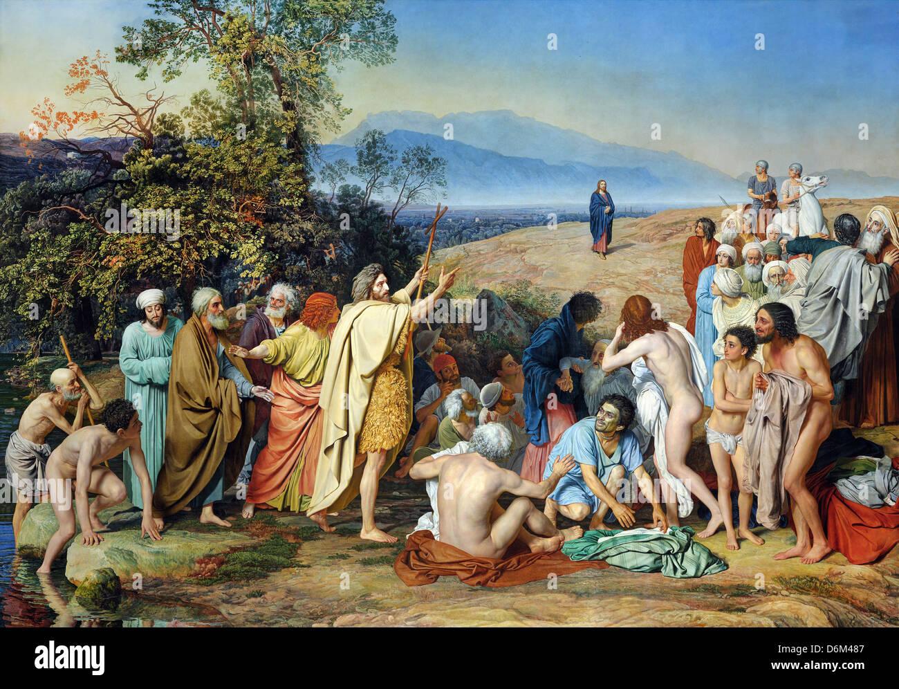 Alexey Venetsianov, apparition du Christ au peuple 1837-1857 Huile sur toile. Galerie Tretiakov, Moscou, Russie Photo Stock