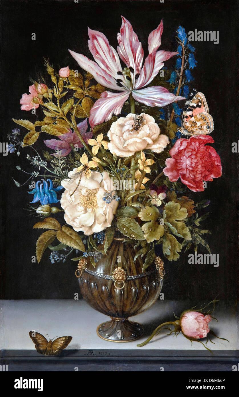 Ambrosius Bosschaerts l'Aîné, Still-Life with flowers 1766 huile sur cuivre. Musée Hallwyl, Suède Photo Stock