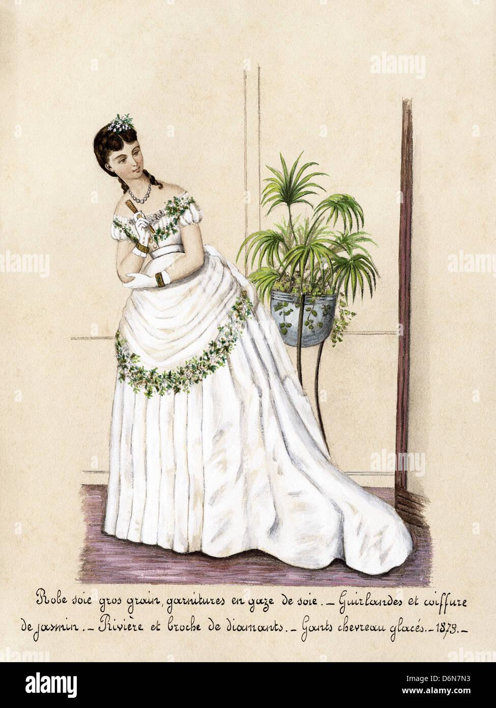 La Mode Francaise De L Epoque Victorienne En Date Du 1873 Aquarelle