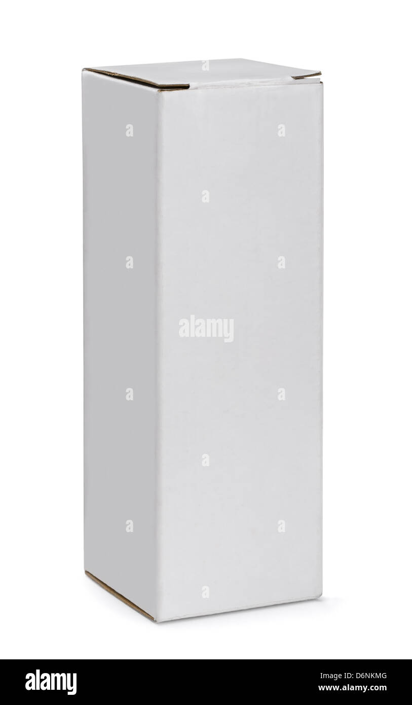 Grande boîte en carton blanc isolated on white Photo Stock