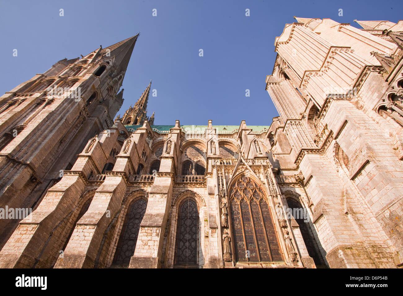 L'architecture gothique de la cathédrale de Chartres, l'UNESCO World Heritage Site, Chartres, Eure Photo Stock