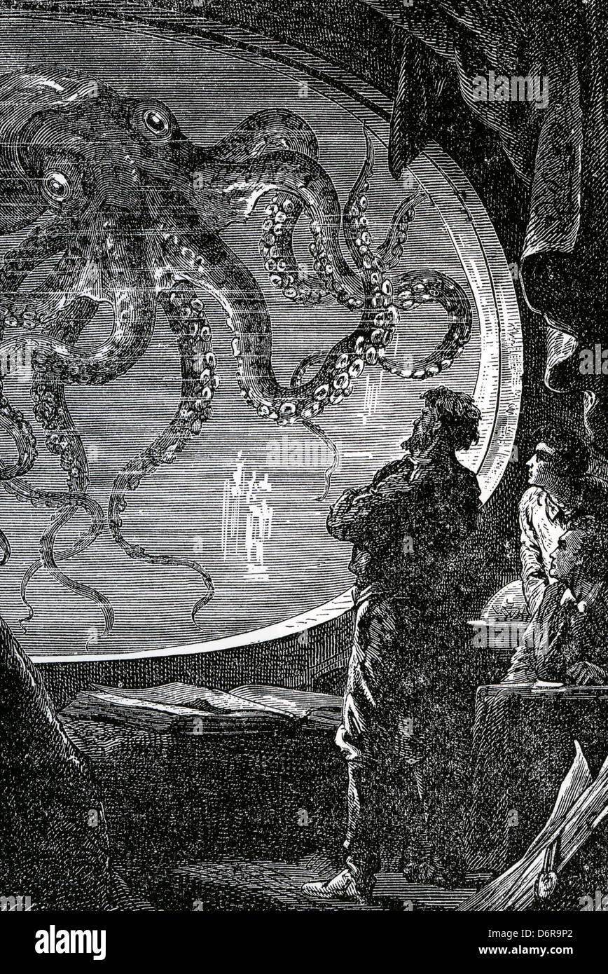 20 000 lieues sous les mers Illustration à partir de 1870, roman de Jules Verne Photo Stock