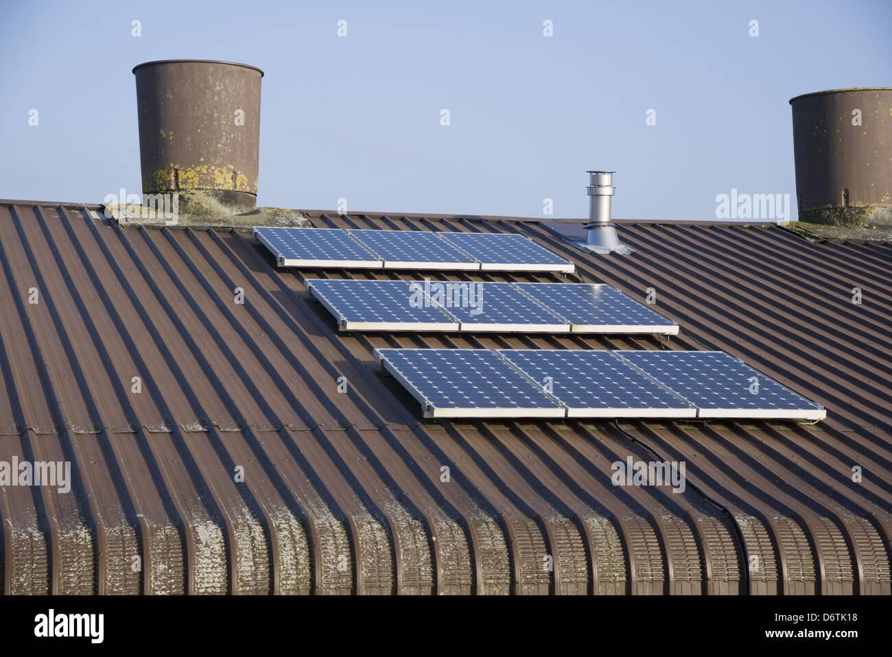 L'élevage du poulet, panneaux solaires sur le toit de l'unité de la volaille, Lancashire, Angleterre, Photo Stock