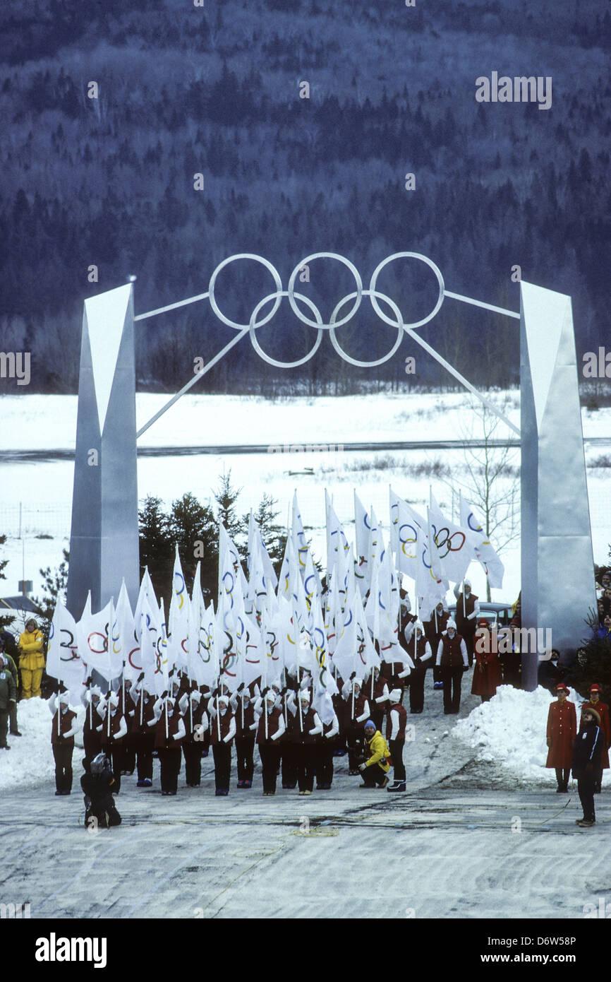 La cérémonie d'ouverture des Jeux Olympiques d'hiver de 1980, Lake Placid, New York. Photo Stock