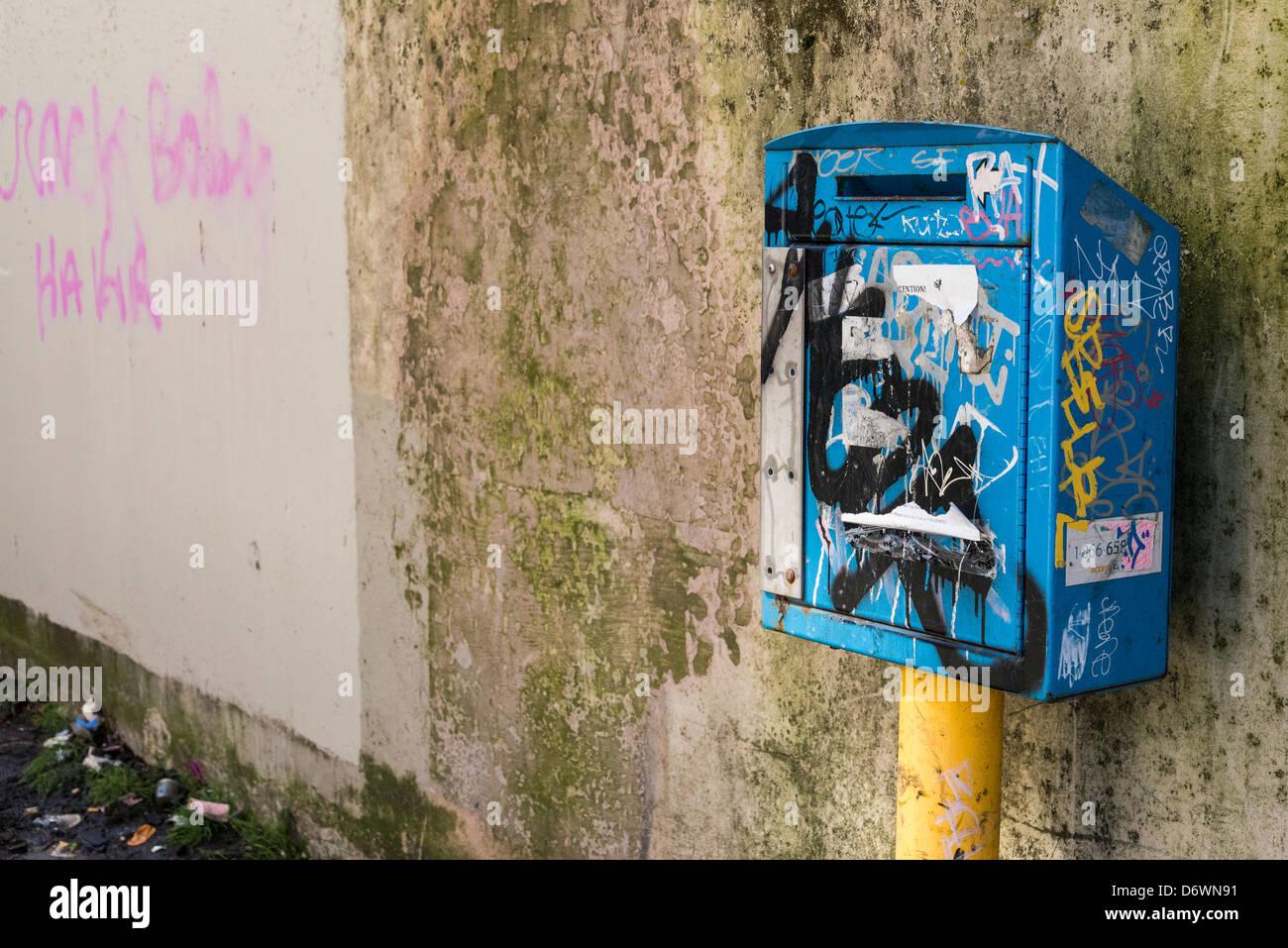Aiguille utilisée drop box, DTES, centre-ville de Vancouver, Vancouver, Colombie-Britannique, Canada Photo Stock