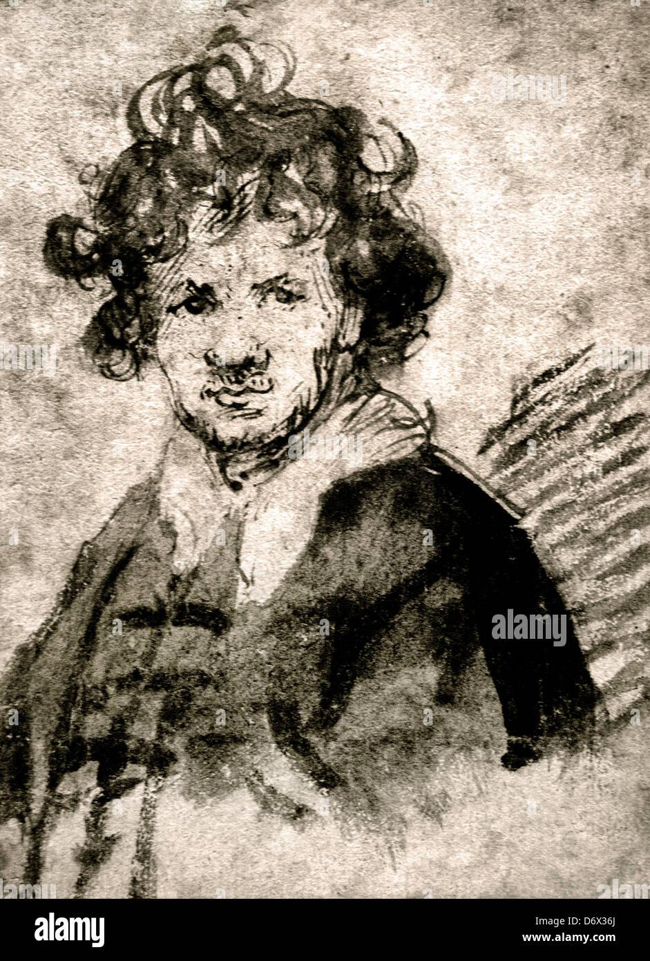 Self Portrait 1628 - 1629 Encre de stylo Rembrandt Harmenszoon van Rijn 1606-1669 Néerlandais Pays-Bas Photo Stock
