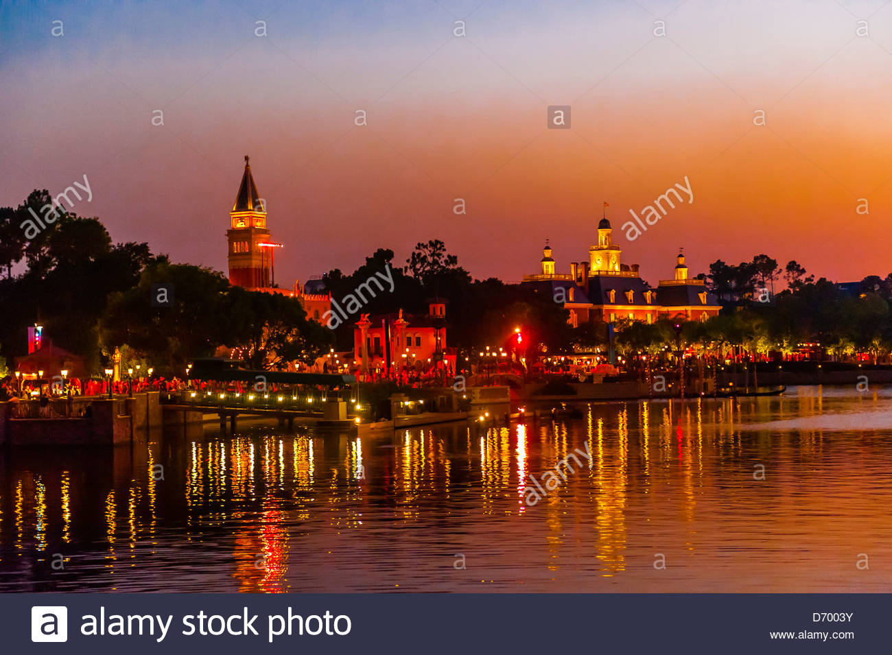 Pavillon de l'Italie et l'aventure américaine, World Showcase, Epcot, Walt Disney World, Orlando, Floride, Photo Stock