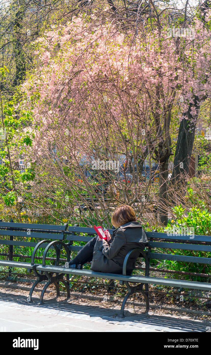 Jeune femme sur un banc dans Central Park la lecture sur un e-reader Photo Stock
