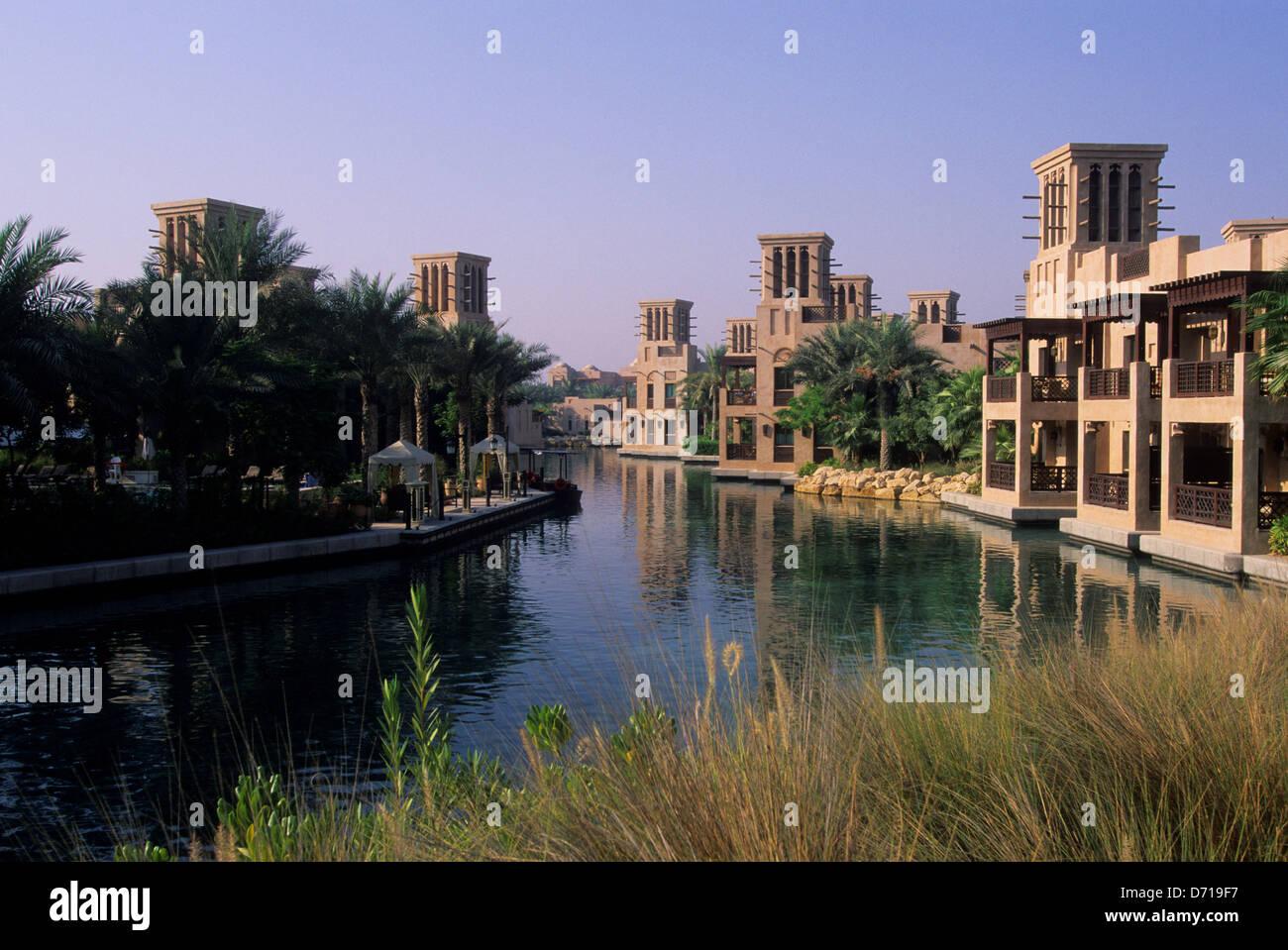 Emirats arabes unis, dubaï, Madinat Jumeirah Hotel, canaux Banque D'Images
