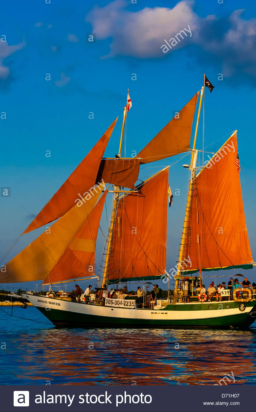 Jolly Rover II la voile au large de Key West, Florida Keys, Floride USA Photo Stock