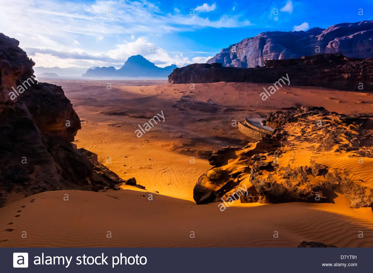 Désert d'Arabie à Wadi Rum, Jordanie. Photo Stock