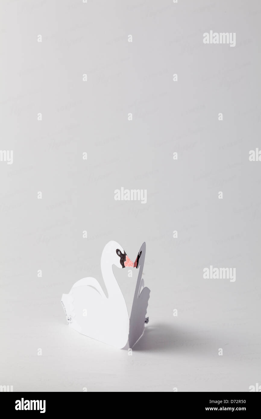 Origami swan fait-main post card Photo Stock
