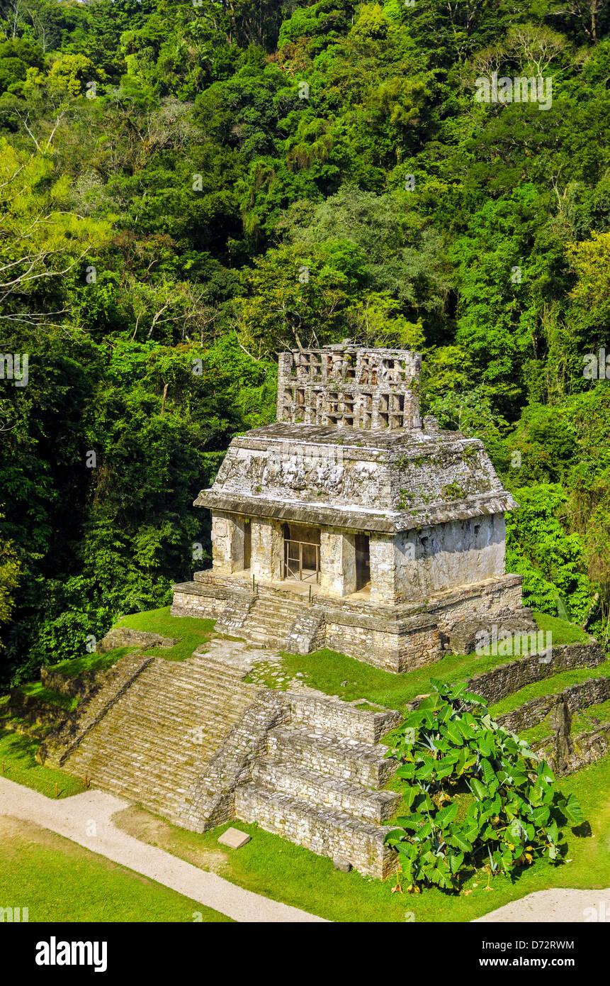 Temple du Soleil à les ruines Maya de Palenque au Mexique Photo Stock