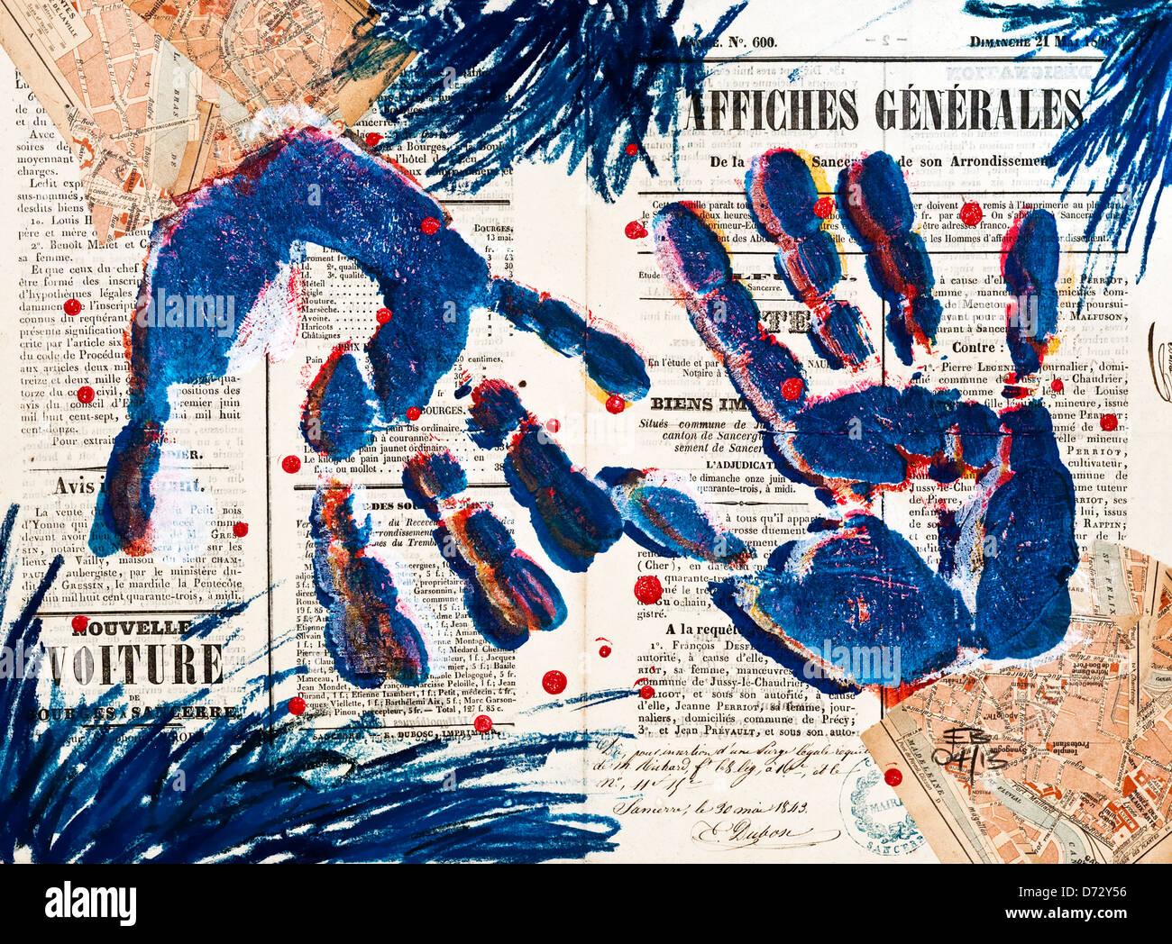 'Hands' pastel abstrait collage / dessin illustration - Illustration de Ed Buziak. Photo Stock