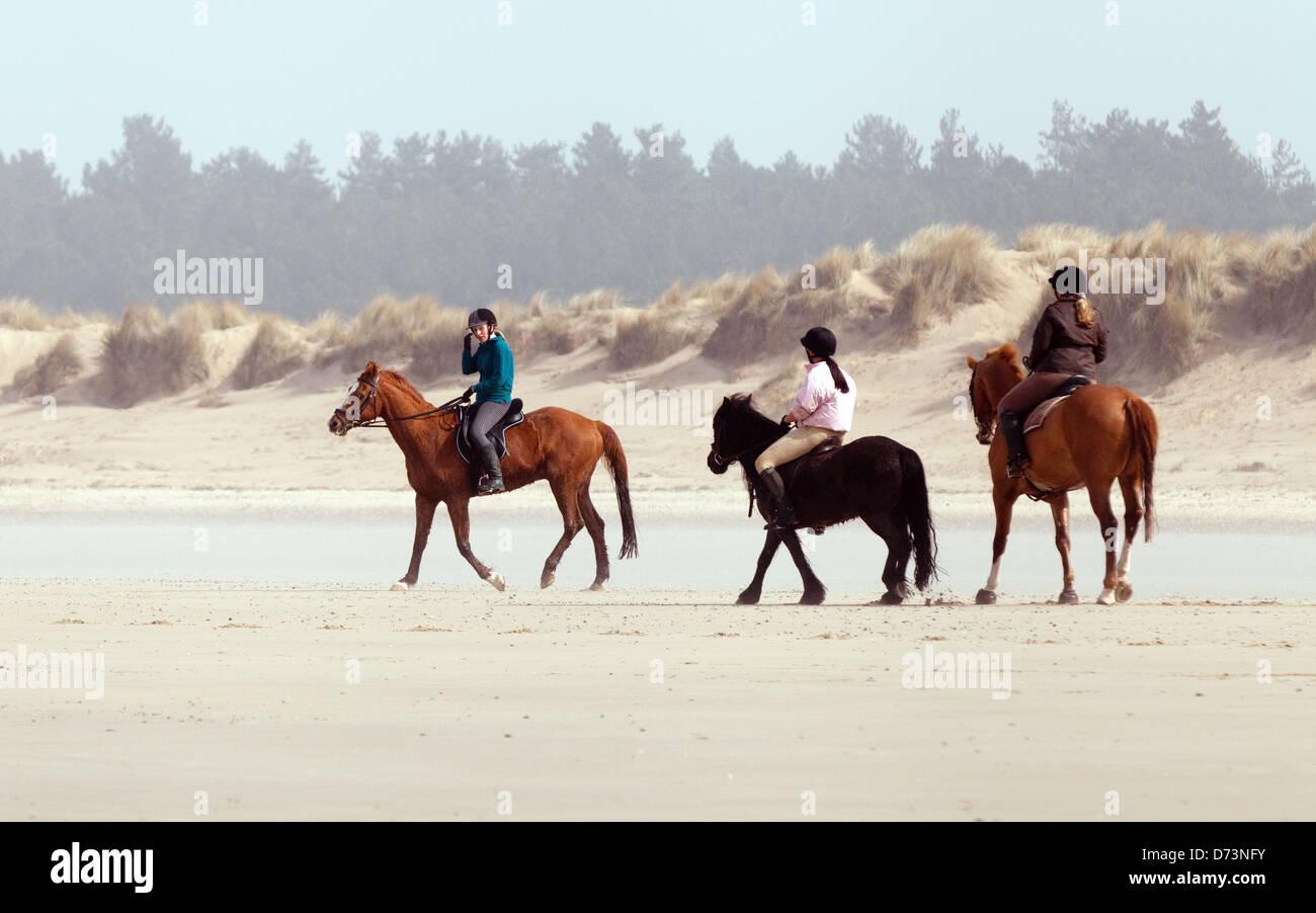 Trois filles l'équitation sur la plage, Holkham Beach, North Norfolk Coast, UK Photo Stock