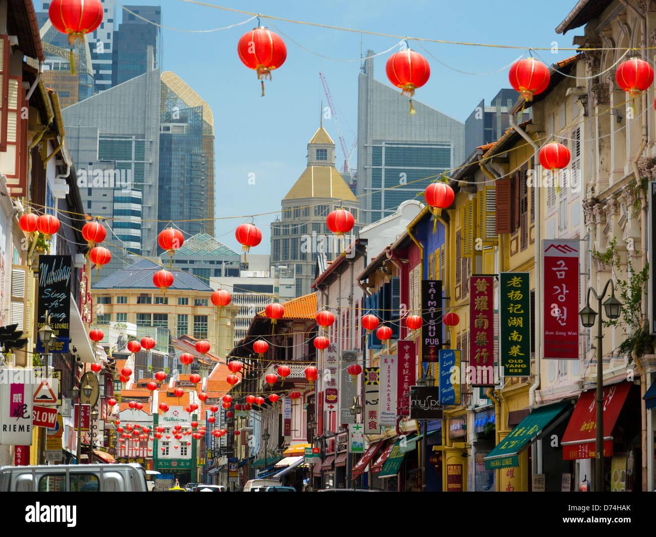 Lanternes chinoises, China Town, à Singapour, en Asie Photo Stock
