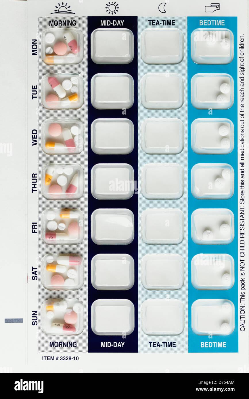 Médicaments pour tous les jours matin et coucher dans un blister, UK Photo Stock