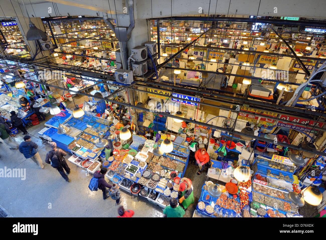 Marché de gros de la pêche Noryangjin à Séoul, Corée du Sud Photo Stock