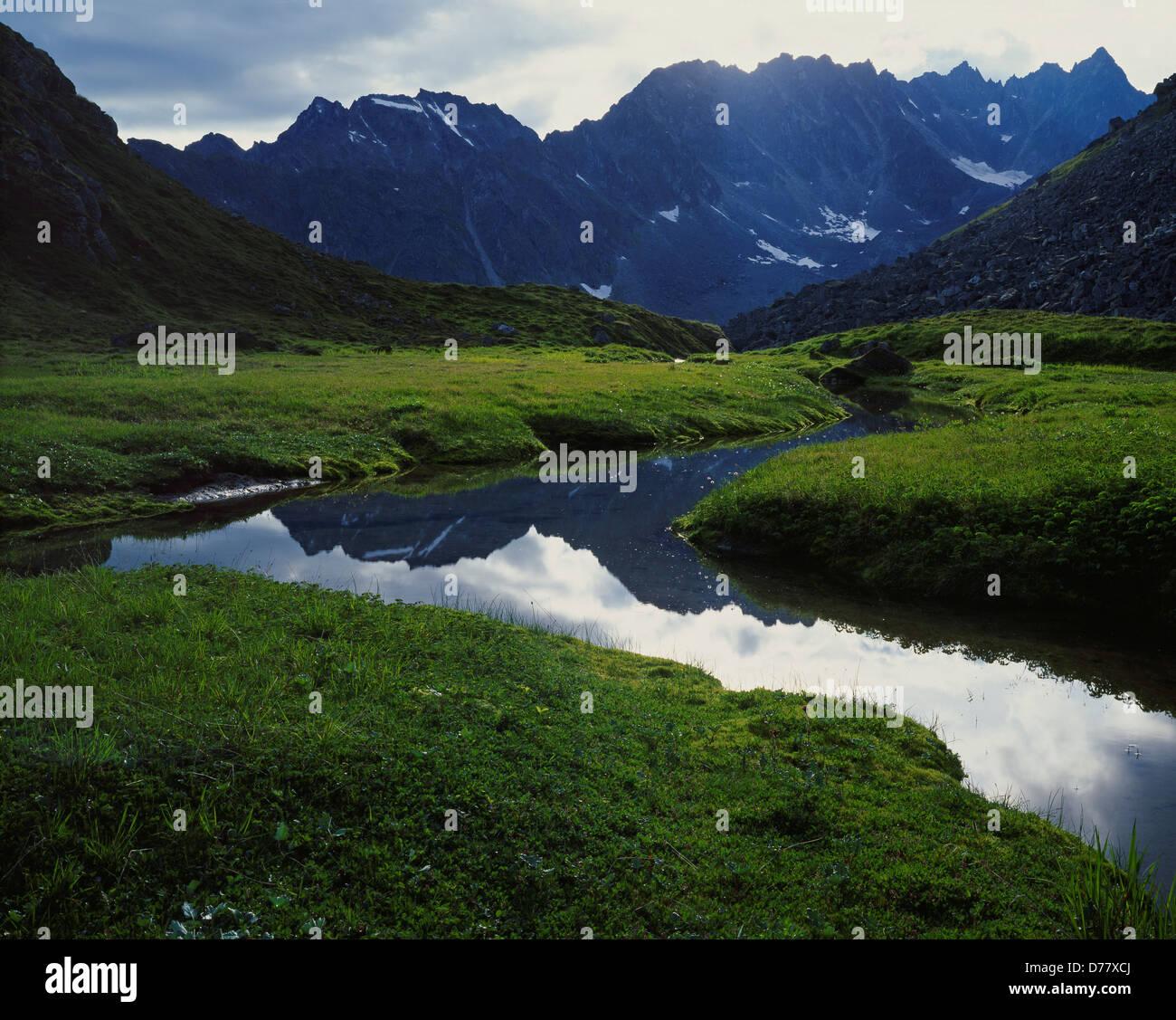Pics dentelés Talkeetna Mountains vue vallée alpine au-dessus du ruisseau de l'Archange de l'Alaska. Banque D'Images