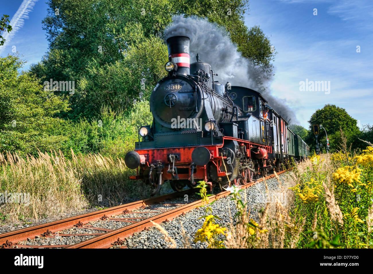 Machine à vapeur Karoline du groupe d'étude de fer Geesthachter dans village de montagne, Hambourg, Photo Stock