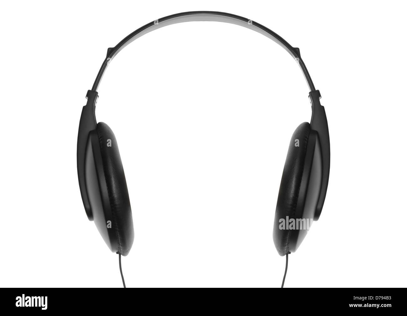 Casque de musique sur fond blanc Photo Stock