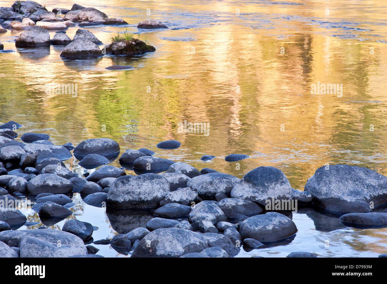 Réflexions d'automne, Clackamas River. Photo Stock
