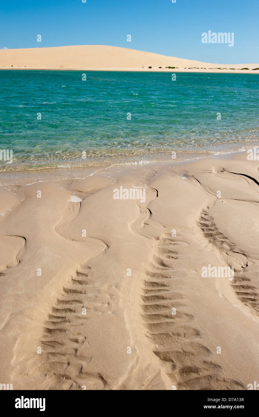 La plage et les dunes, l'île de Bazaruto, au Mozambique Photo Stock