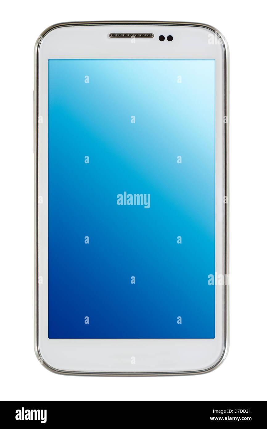 Smart phone blanc sur fond blanc Banque D'Images