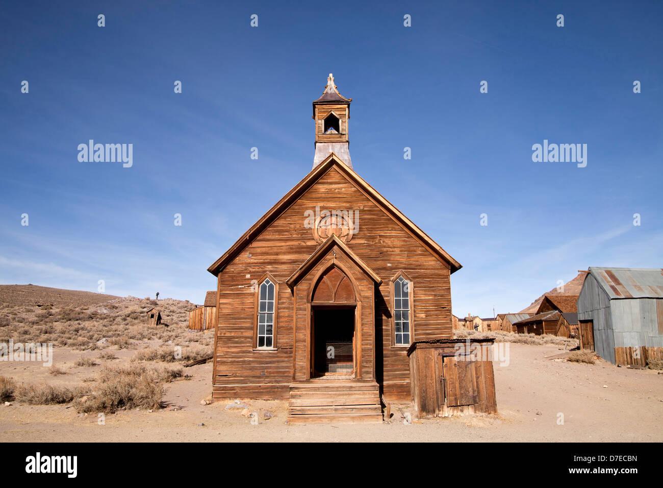 Église méthodiste de la ville fantôme de Bodie, en Californie, États-Unis d'Amérique, Photo Stock