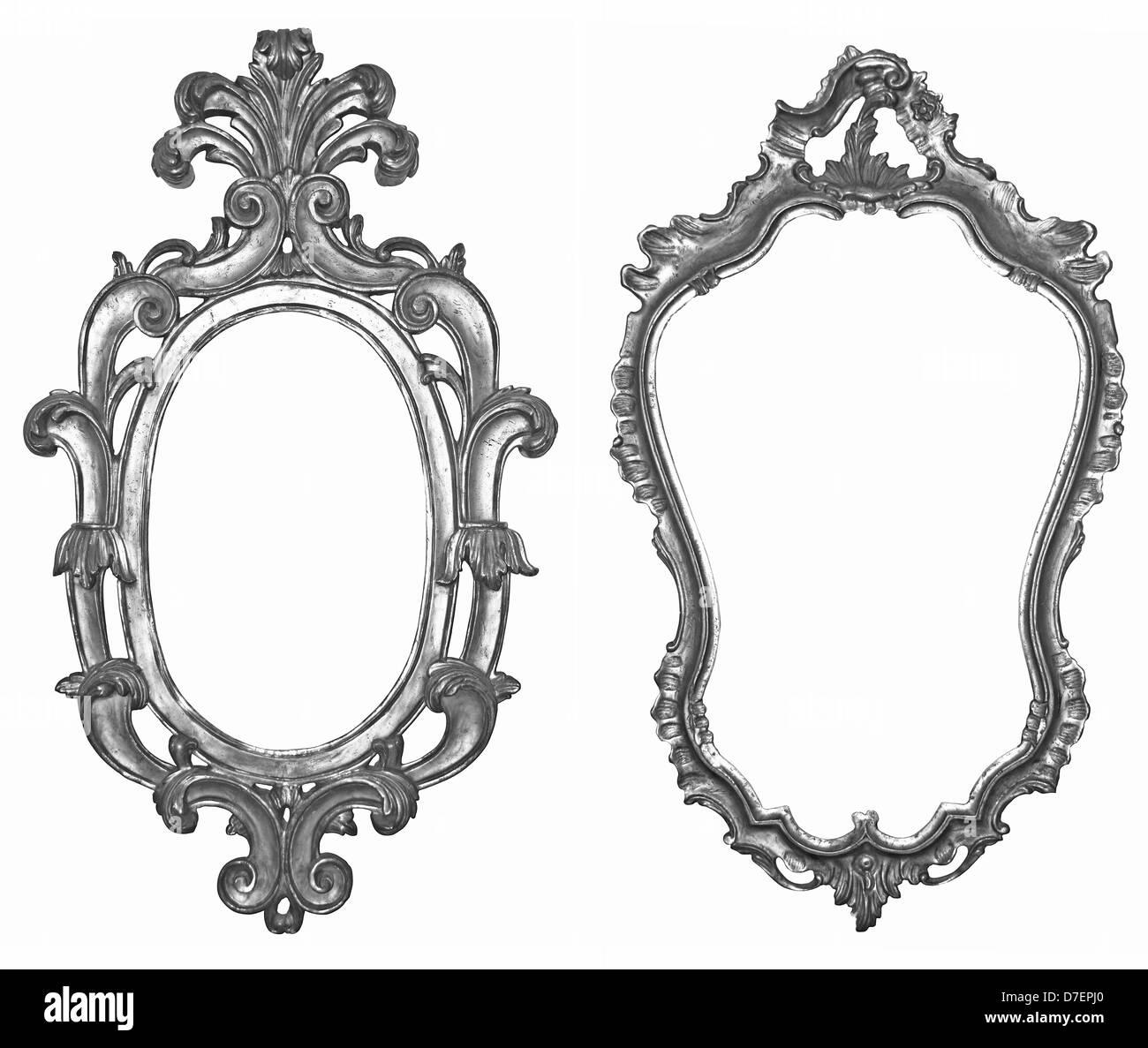 Argent vieux cadres en bois pour les miroirs et tapisseries Photo Stock