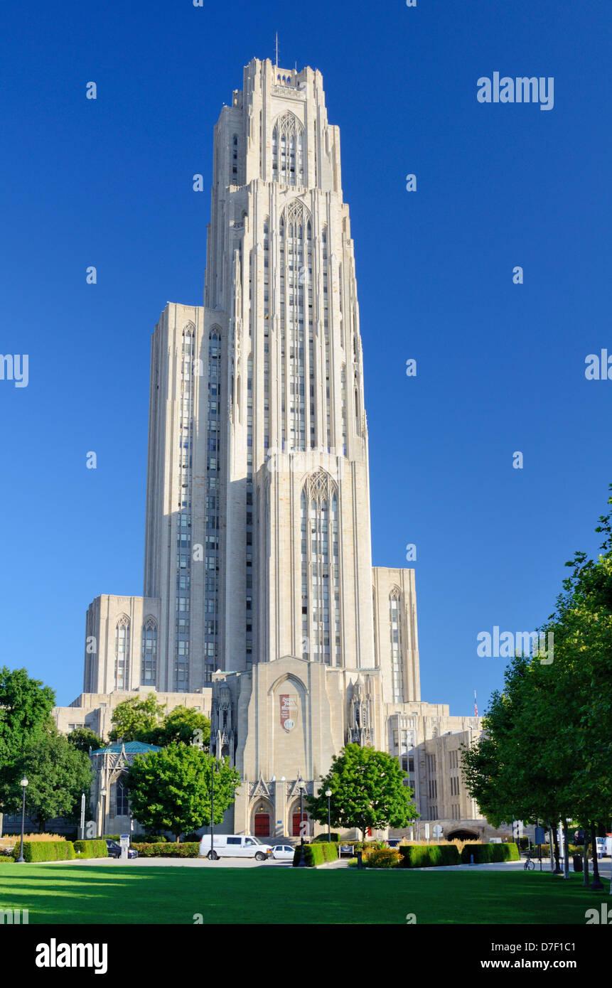 La Cathédrale de l'apprentissage sur le campus de l'Université de Pittsburgh. Photo Stock