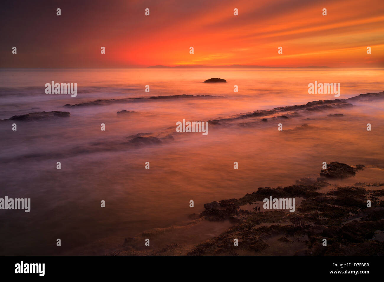 Coucher du soleil à Crystal Cove State Park, Newport Beach, Orange County, en Californie. Photo Stock
