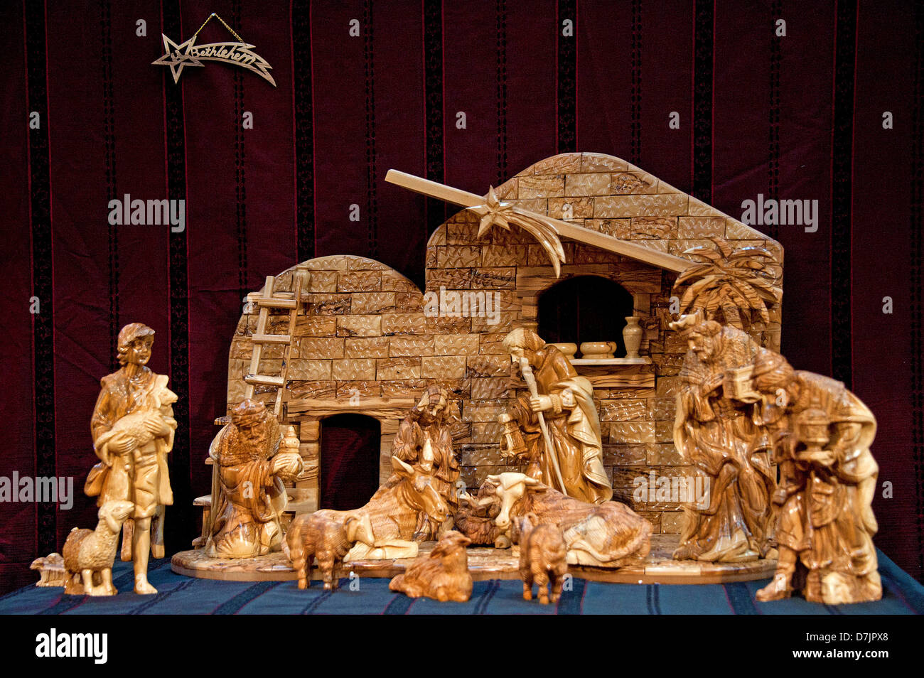Berceau de bois sculpté de Noël Photo Stock