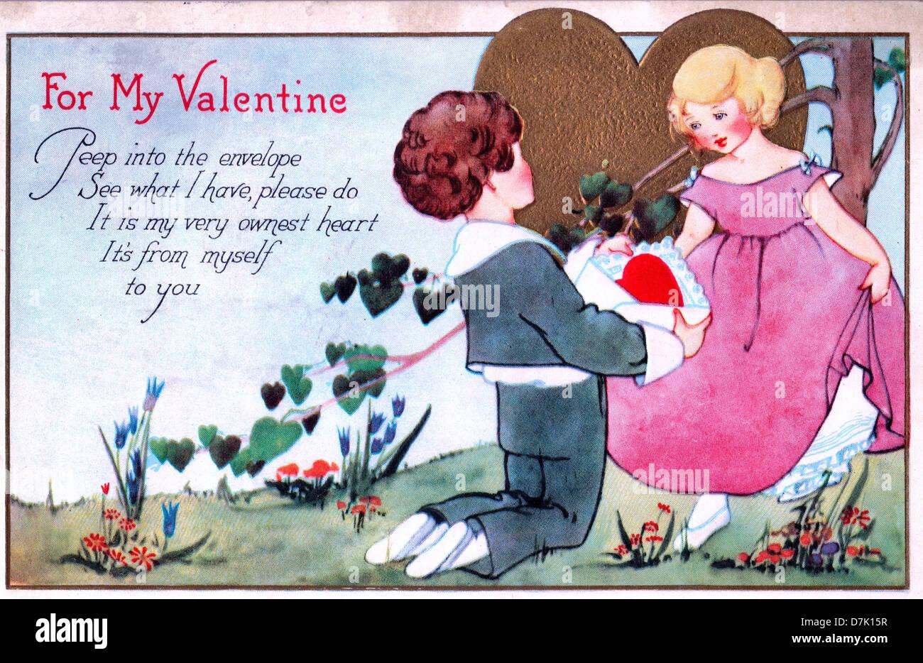 For My Valentine - Peep dans l'enveloppe, voir ce que j'ai, n, c'est mon coeur très ownest. c'est Photo Stock