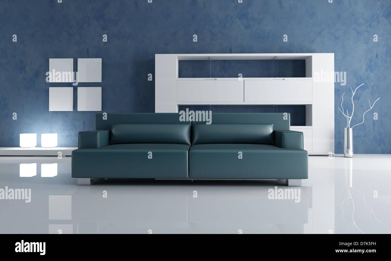 Contemporary salon avec canapé bleu marine et blanc étagère ...