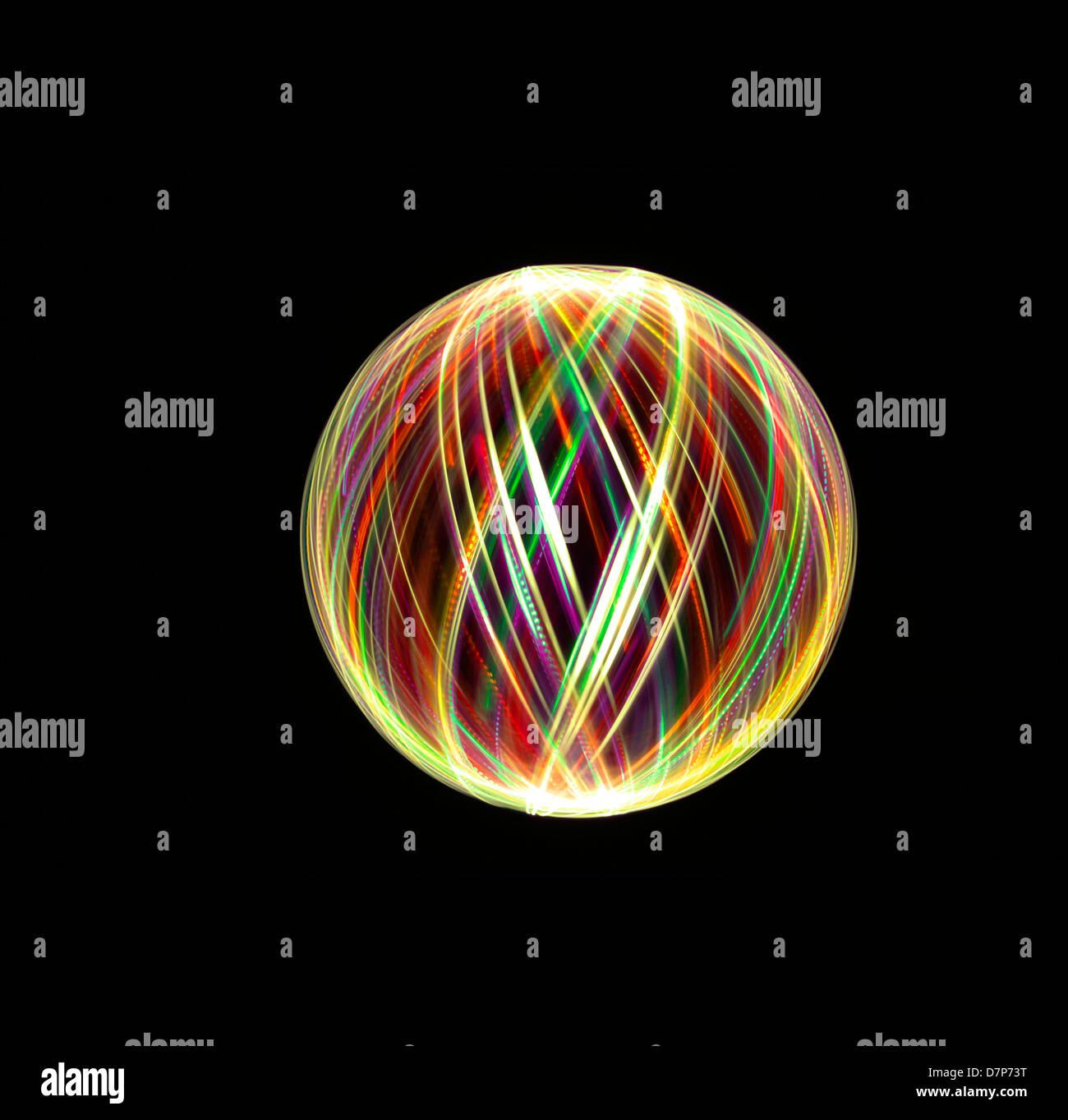 Peinture lumière orbes et de sphères Banque D'Images