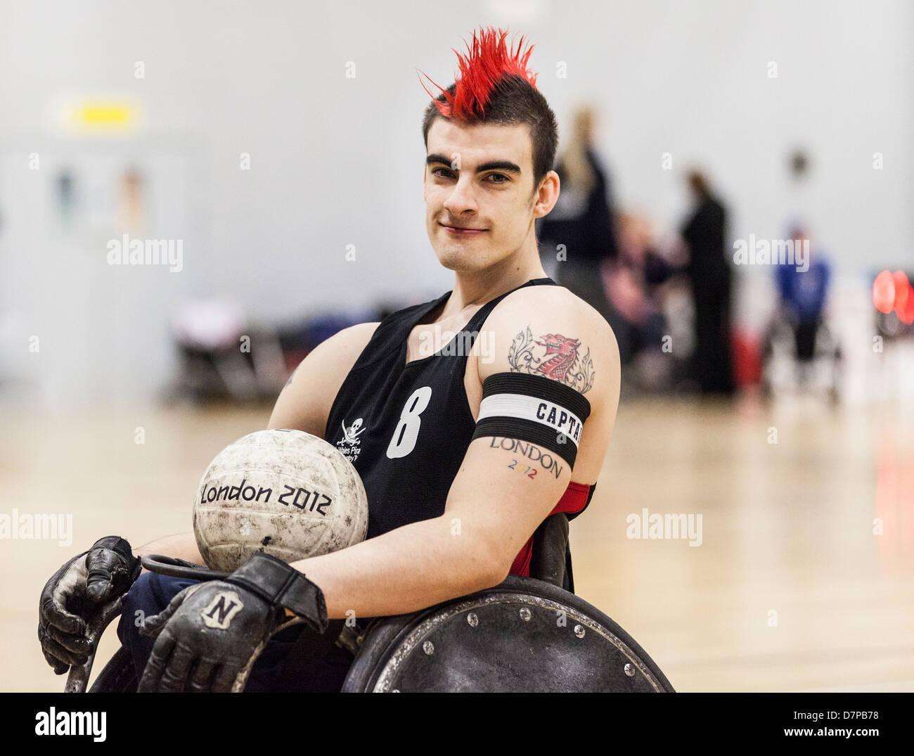 David Anthony GBWR, joueur de rugby en fauteuil roulant aux Jeux paralympiques, l'équipe Go, Londres 2012 Photo Stock