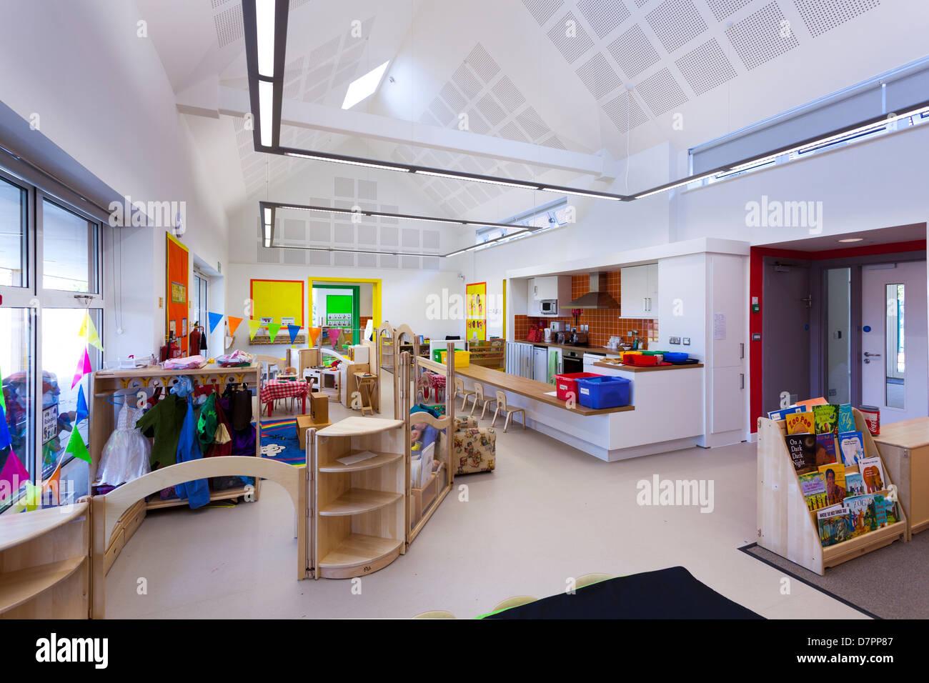 L'école maternelle classe inoccupées Whitley Park Nursery School Reading Banque D'Images