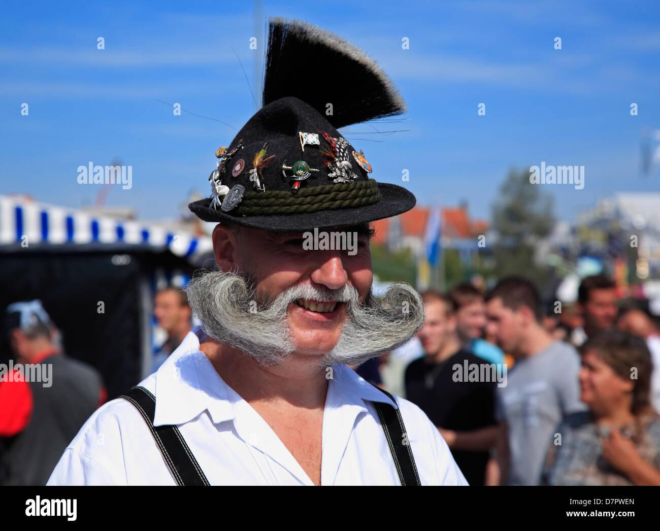 L'Oktoberfest, Theresienwiese à bavarois traditionnel vieux de foire, Munich, Bavière, Allemagne Photo Stock