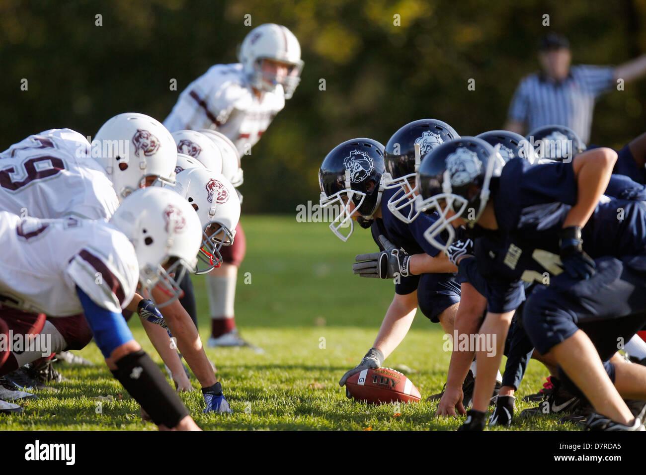 Match de football de l'école secondaire Photo Stock